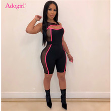 Adogirl Fluorescence Color Trim Sheer Mesh Patchwork Sexy Jumpsuit Hollow Out Sleeveless Fashion Casual Romper Cycle Playsuits(China)