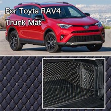 PU Leather Rear Trunk Cargo Liner Protector Mat Seat Back Cover For Toyota RAV4 custom fit luxury pu leather car trunk mat cargo mat for toyota venza 2008 2017 5d cargo liner