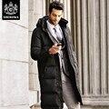 2017 invierno soporte informal cuello de pato blanco abajo engrosamiento diseño largo abajo de la capa masculina jackt hombres