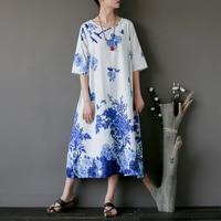 Women Retro Cotton Linen Printed Floral Dress Ladies Vintage Washed Dress Female Handmade button Dress