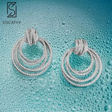Siscathy 2019 New Trendy Women Earrings Fashion Jewelry AAA Cubic Zirconia Drop Earrings For Women Wedding Party Accessories