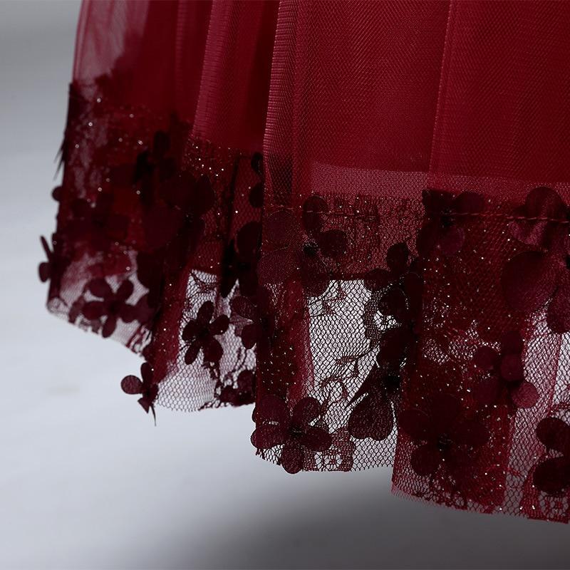 дети младенческой девушка лепестки цветка платье элегантное детское платье подруги невесты платья vestido infantil для официальная вечеринка платье красное вино