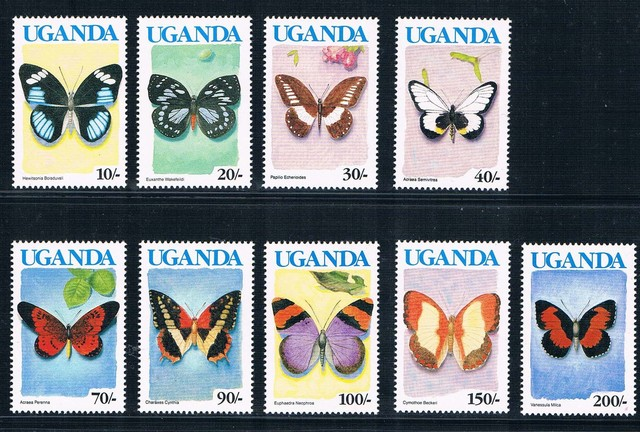 EA1475 Uganda 1990 Blue Butterfly Stamp 9 New Low Face Value 0712