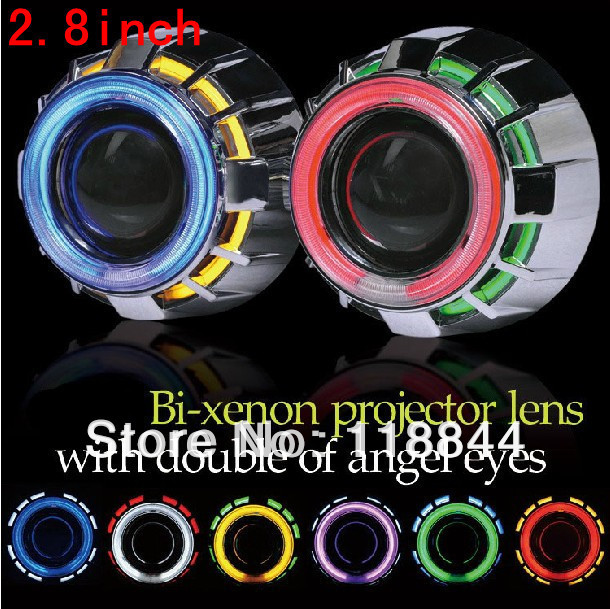 H4 H13 HB3 H1 H7 HB4 9004 9007 8000K 6000K 4300K 2.8'' inch Bi Xenon Lens Projector CCFL Double Angel Eyes 35W HID Slim Ballast 35w ccfl angel h1 h49005 9006 3 inch bi xenon h7 hid projector parking h4 in car light source