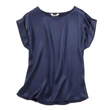 Женская летняя шелковая блузка из натурального шелка с коротким рукавом, Базовая рубашка темно-синего цвета, повседневные рубашки, шелковые блузки для женщин