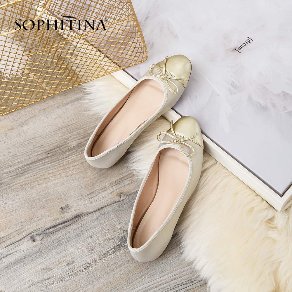 SOPHITINA Genuine Leather New Flats Fashion Gingham Slip On Casual Round Toe Shoes Handmade Butterfly Knot