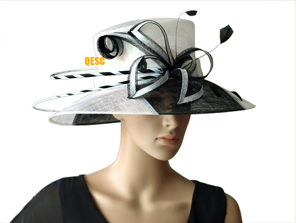 Us 550 New Whiteblack Two Tone Wide Brim Dress Sinamay Hats Church Hatsfor Raceswedding In Womens Fedoras From Apparel Accessories On