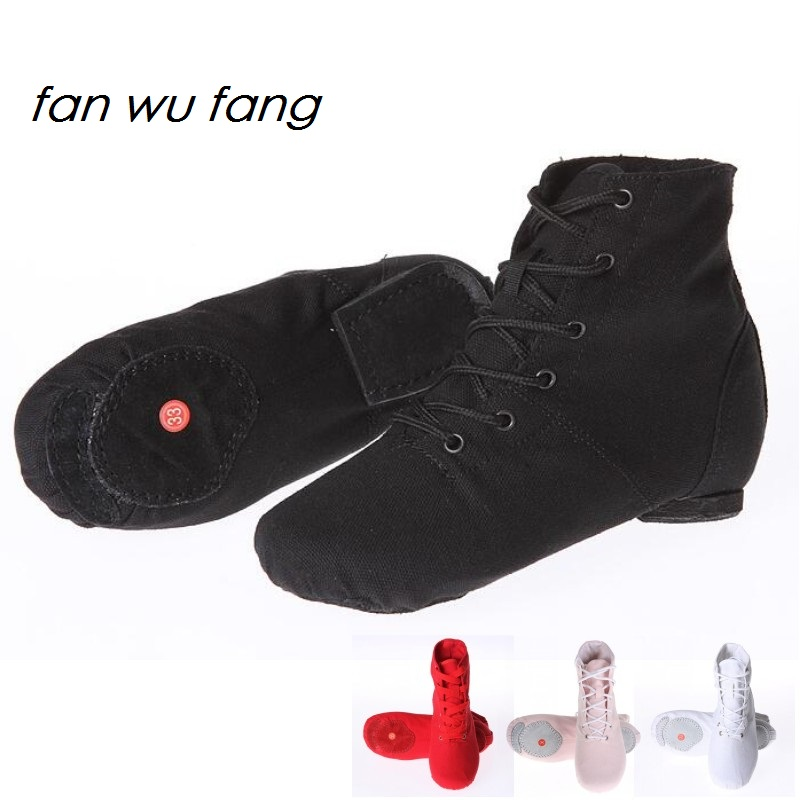 fan wu fang 2017 New Arrival 4 Color Soft Sole Canvas Jazz Shoes Dance Shoes For Child Women Adult According The CM To Buy(China)