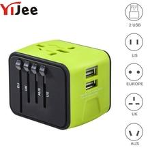YiJee универсальный адаптер путешествия все-в-одном международных поездок Зарядное устройство с 2.4A Dual USB Wall Зарядное устройство для нас, великобритания, ЕС, AU