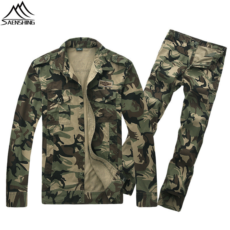 SAENSHING Spring Hunting Jacket Sets Men Outdoor Pant Windproof Camouflage Tactical Army Jacket Camping Hiking Fishing