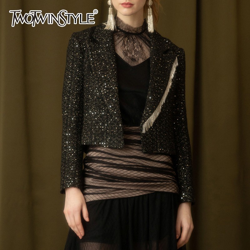 TWOTWINSTYLE Patchwork Tassel Tweed Blazer Coat Women Long Sleeve Short Blazers Female Spring Autumn 2020 Fashion Clothing New