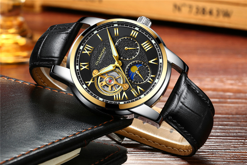 GUANQIN Top Brand Watches Mens Water Resistant Luminous Automatic Watch Skeleton Tourbillon Mechanical Wristwatches Black Clock (9)