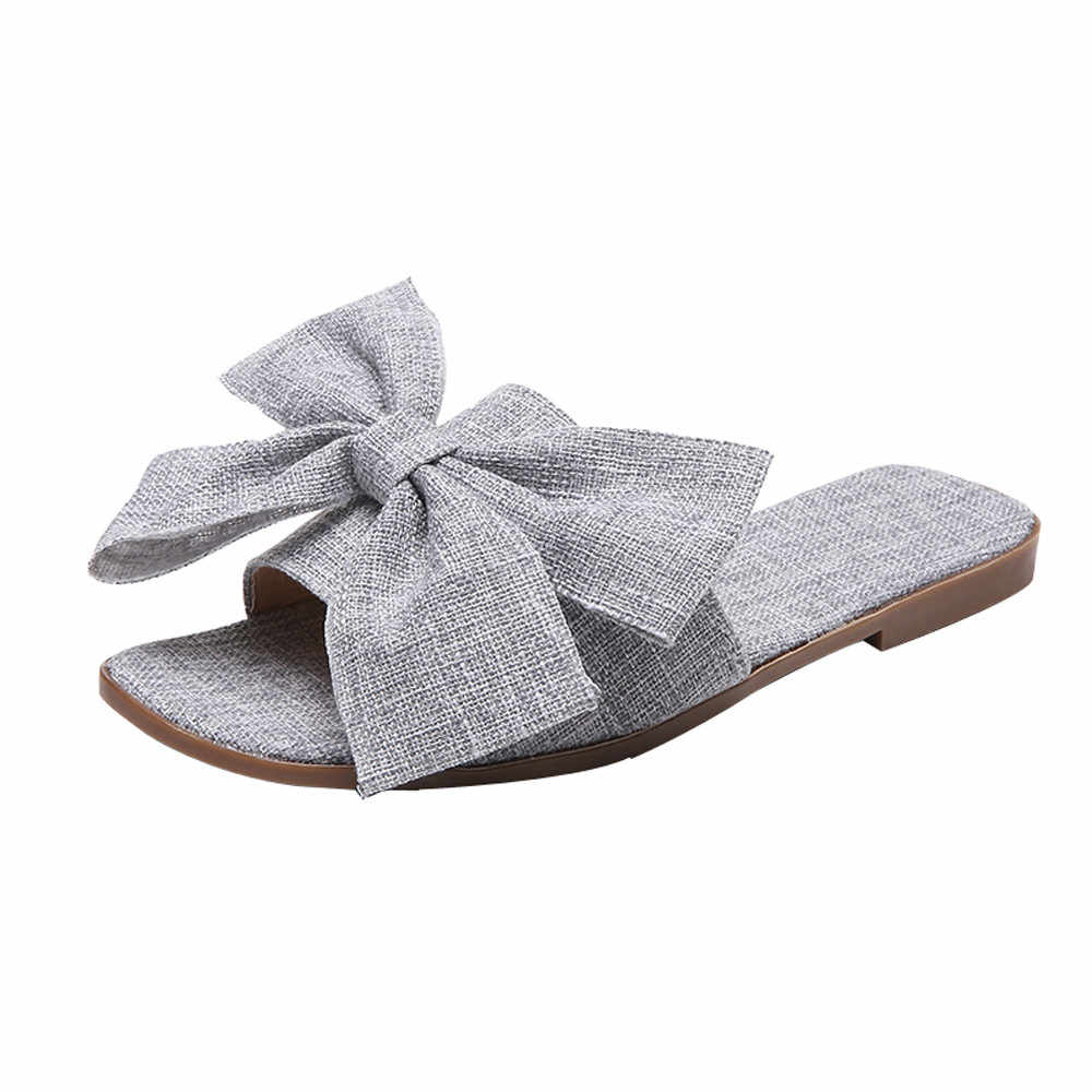 90410e75c New 2018 Cool Slippers Women Big Bow Flat Flip Flops Boho Beach Shoes Summer  Slides Non