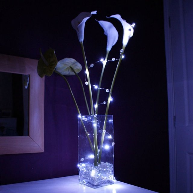 Cr2032 Coin Battery Operated Pink Color Micro Led Vine Lights Decoration Christmas Xmas Party Wedding Rope Light