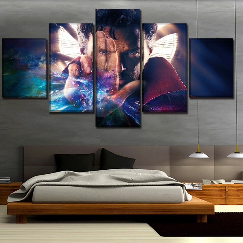 5 Panel Canvas Painting Home Decor Living Room Movie Benedict Cumberbatch Doctor Strange Pictures Modern Wall Art Decor Artwork