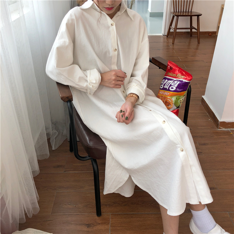Vintage autumn Long Dress long Sleeve shirt turn down collar woman Lady loose shirt Casual Fashion maxi Dress cotton blue white 15