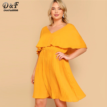 Dotfashion Plus Size Ginger Ruffle Detail V-Neck Solid Dress Women 2019 Boho Summer Cloak Sleeve Pleated High Waist Short Dress
