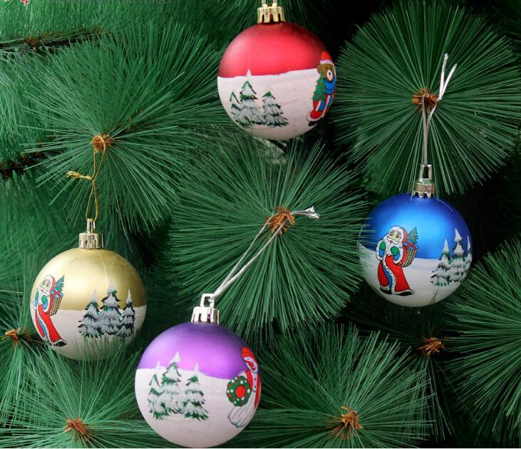 6pcs 6cm Hand Painted Pattern Ball Pendant Ornament For Christmas