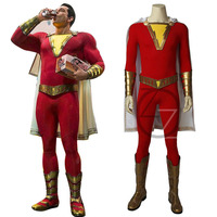 Shazam Cosplay Captain Marvel Costume Billy Batson Jumpsuit Costumes Marvel Suit Superhero Halloween Adults Men Customized Made