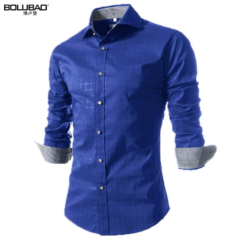 2017 nieuwe lente merk mannen shirt mode jurk shirt lange mouw mannen - Herenkleding - Foto 1