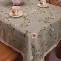 Light Green Cotton Linen Table Cloth For Dinning Tables American Country Style Nature Floral Table Cover
