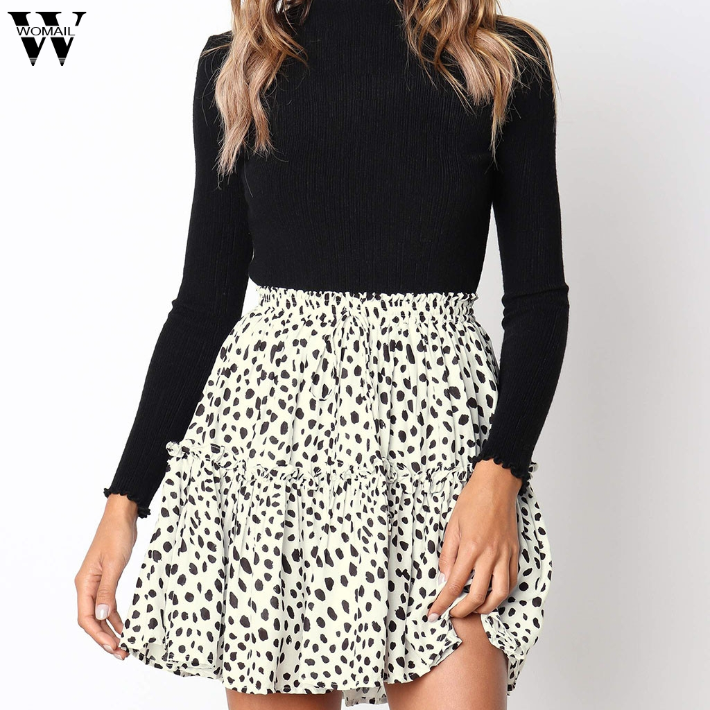 Womail Skirts 2019 New Fashion High Waist Print Skirt Summer High Waist A Line Mini Skirts For Women Casual Holiday Party J611