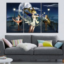 Moon Night Bridge Girl Painting Modern Wall Artwork Home Decorative Girl Room 3 Piece Canvas Print Anime Sailor Moon Picture майка борцовка print bar girl and moon