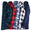15-color camisa a cuadros de manga larga de los hombres de negocios de estilo Europeo camisa de gran tamaño ocasional Engrosamiento juventud camisa Delgada del otoño hombres