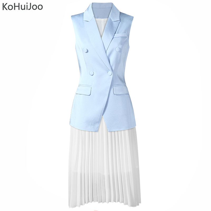 KoHuiJoo Summer Two piece Skirt Set Women Elegant Office Ladies Work Double Breasted Sleeveless Vest+Pleated Skirt Suit 2 pcs