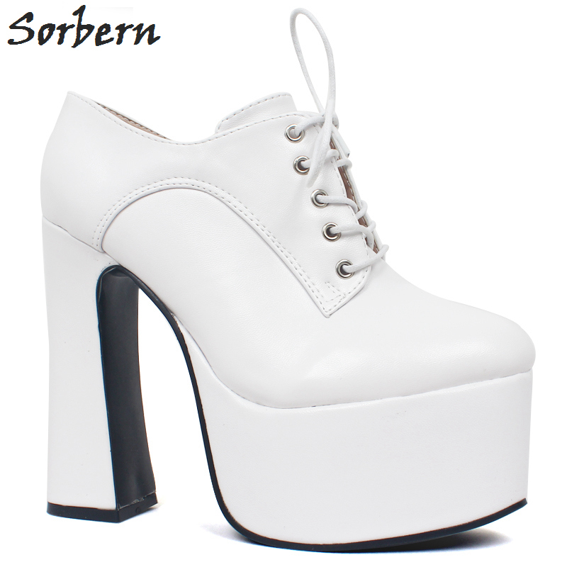 Sorbern Chunky Heels Women Pumps Lace Up Shoes Platform Block Heels Big Size Shoe Women Platform Heels Pointy Shoes High Fashion 2017 lace up pumps oxfords shoes for women party gladiator sandals cut out nightclub block heels pointy toe high heels shoes