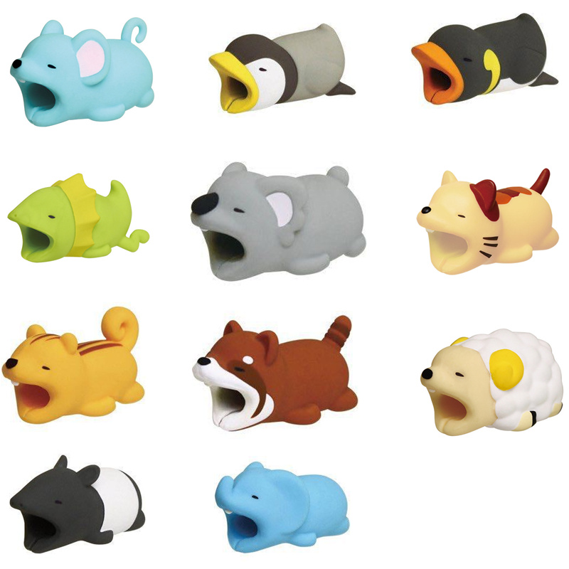 Dropshipping Cable Animal Bites Protector For Iphone Phone Holder Accessories Animal Cable Bites Panda Rabbit Crocodile Biters