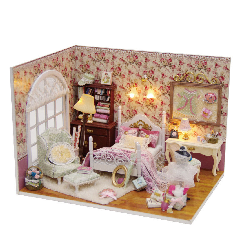 Miniature Love Rose Room Dollhouse Furniture Kits DIY Wooden Dolls House LED Lights For Toy Romantic Wedding Xmas Gift