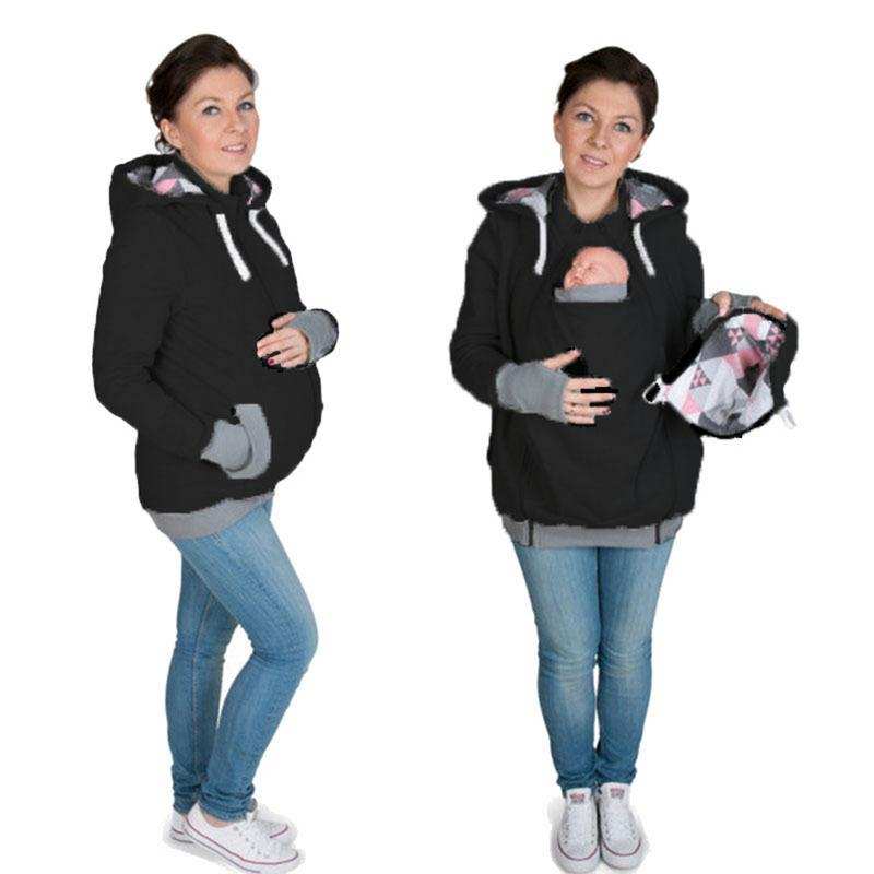 Maternity MultiFunctional Geometric Pattern Baby Hoodie Winter Mother Pregnant Women Kangaroo Sweater Pullovers Tops Clothes color block kangaroo pocket hoodie with sweatpants