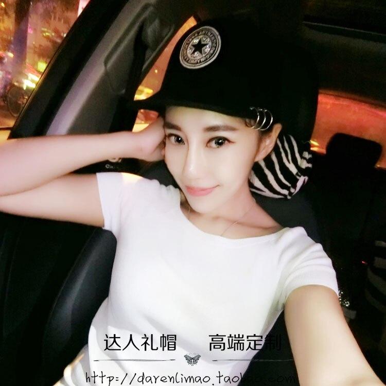 Rhinestone baseball cap applique wool equestrian cap metal ring fashion female hat