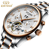 KINYUED Automatic Mens Watch Flying Tourbillon Skeleton Mechanical Self Winding Watches Men Calendar Relogio Masculino Dropship