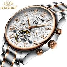 KINYUED Flying Tourbillon Reloj Automático Para Hombre Esqueleto Mecánico de Cuerda Automática Relojes Hombres Calendario Relogio masculino Dropship