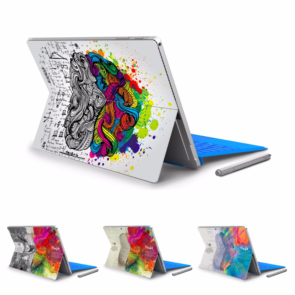 GOOYIYO - For Micro Surface Pro 4 5 Vinyl Back Full Decal Tablet Sticker Left&Right Brain Print Skin Cover Logo Cut Out