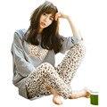 Nueva 2016 Otoño Mujeres Pijama O-cuello de Manga Larga Mujer Ropa Para Mujer del Camisón de Dormir Pijamas Niñas ropa Para El Hogar