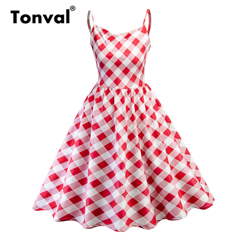8c732b8cb89 Tonval Red Plaid Gingham Vintage Dress Pleated Spaghetti Strap 50s Retro  Party Dress Women Summer Swing