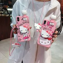 3D Cute Hello Kitty Ear Case for Xiaomi 8 A 1 2 Lite Cartoon Toy Wrist Strap Soft TPU Cover for Redmi note 7 6 5 4 3 A X pro S2(China)