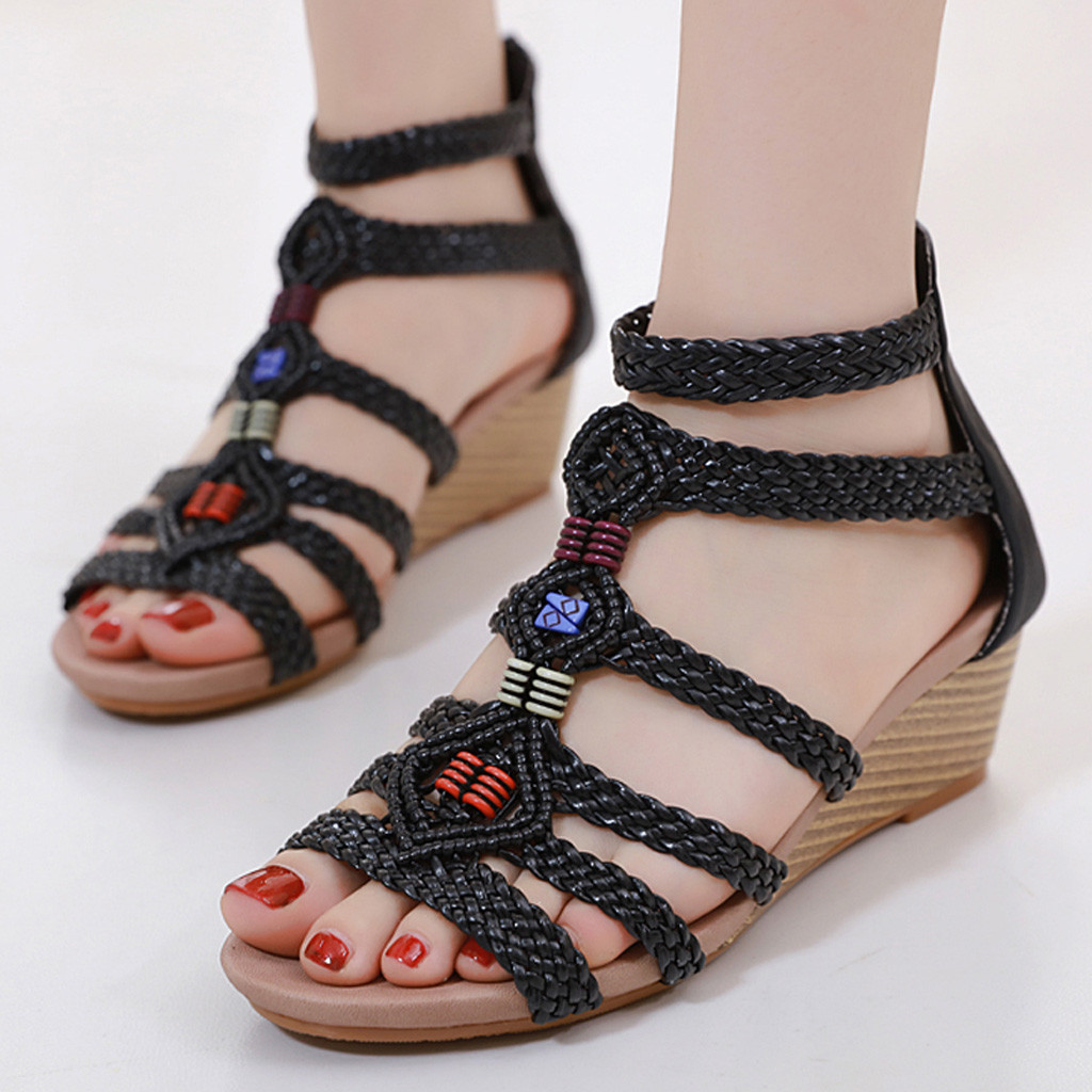 Sandals Gladiator Weaving-Shoes Open-Toe Women Wedge High-Heels Bohemia