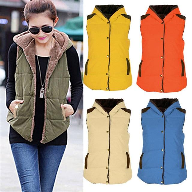 Delicate high quality Womens Slim Fleece Warm Vest Hoodie Coat Sleeveless Jacket Hooded Vest Waistcoat Nov10 wholesale