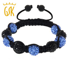 Gem Stone King Fully Iced Out Bracelet Hip Hop 5 Blue & 4 Black Disco Ball Adjustable For Women Fine Jewelry(China)