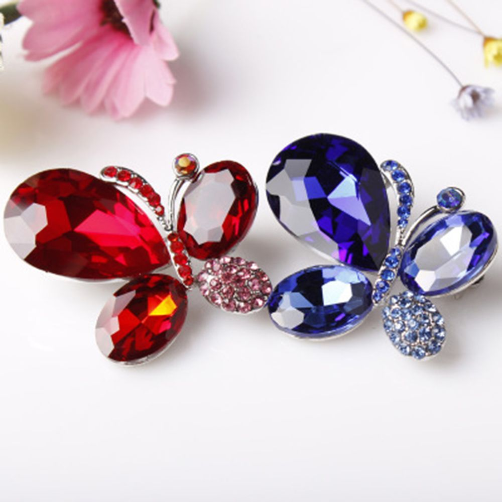 High Quality Shinning Blue and Red Glass Crystal Butterfly Fashion Brooches Brouches Cos ...