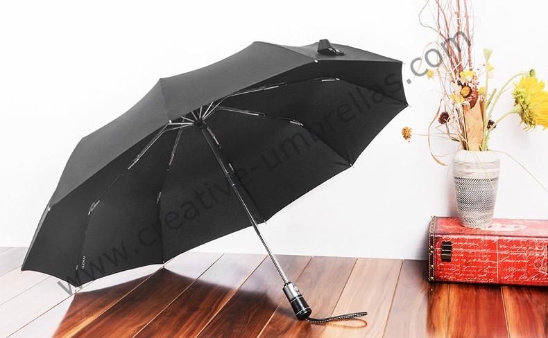 Πλήρως αυτόματη 10ribs τρεις φορές αυτόματη ανοιχτή και αυτόματη κλειστή ομπρέλες συμπαγής αμόλυβδη άξονα αλουμινίου καθαρή δερμάτινη επιχείρηση ομπρέλα