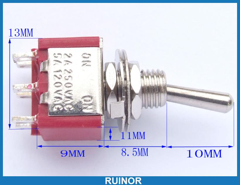 ФОТО 50 AC 250V 2A 120V 5A 6 Pin 2 Stalls DPDT Toggle Switch