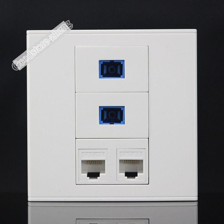 Настенная тарелка 4 Порты разъем 2 Порты CAT5E сети LAN и 2 Порты SC выходе оптического волокна Панель Лицевая панель дома переходник Стандартный