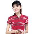 2017 Women Summer Shirts  Print Cotton Polo Style Red White M-XXXL Casual Soft Femme Tops Short Sleeve Feminina YY629