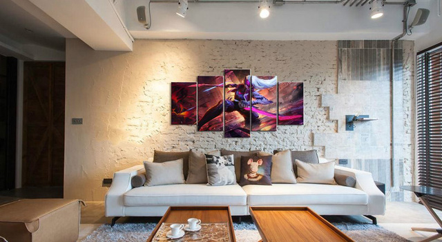 5 Panel LOL League of Legends Katarina Game Canvas Printed Painting For Living Room Wall Art Decor HD Picture Artworks Poster 2