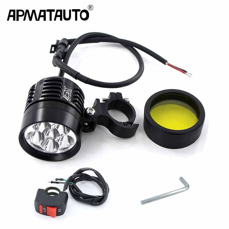 1PCS 6000Lm white/Yellow Motorcycle LED Headlight Waterproof Driving Spot Head Lamp Fog Light Motor Accessories 6000K/3000K 12V